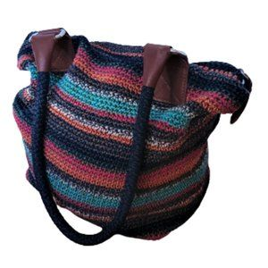 The SAK Cambria crochet knit navy striped bag tote
